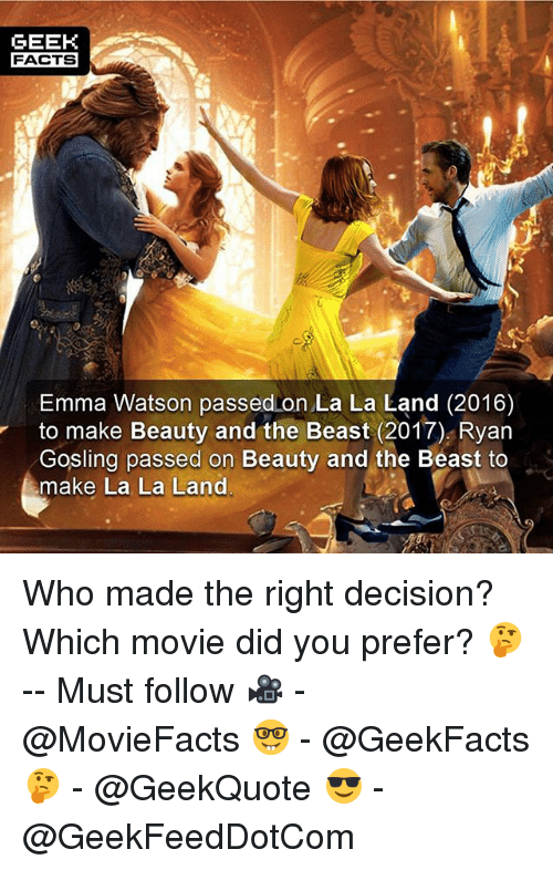 Emma Watson, Facts, and Memes: GEEK  FACTS  Emma Watson passed on La La Land (2016)  to make Beauty and the Beast (2017) Ryan  Gosling passed on Beauty and the Beast to  make La La Land Who made the right decision? Which movie did you prefer? 🤔 -- Must follow 🎥 - @MovieFacts 🤓 - @GeekFacts 🤔 - @GeekQuote 😎 - @GeekFeedDotCom