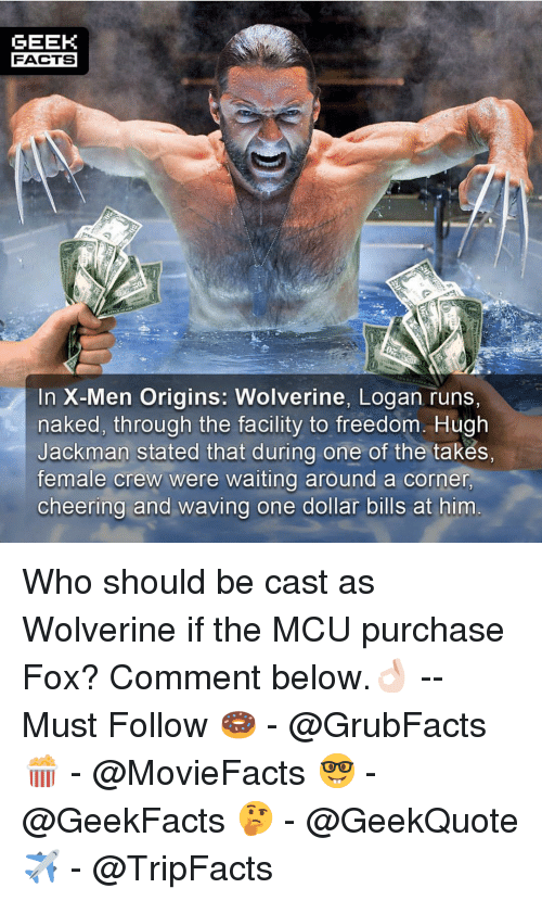 Facts, Memes, and Wolverine: GEEK  FACTS  In X-Men Origins: Wolverine, Logan runs,  naked, through the facility to freedom. Hugh  Jackman stated that during one of the takes,  female crew were waiting around a corner  cheering and waving one dollar bills at him Who should be cast as Wolverine if the MCU purchase Fox? Comment below.👌🏻 --Must Follow 🍩 - @GrubFacts 🍿 - @MovieFacts 🤓 - @GeekFacts 🤔 - @GeekQuote ✈️ - @TripFacts