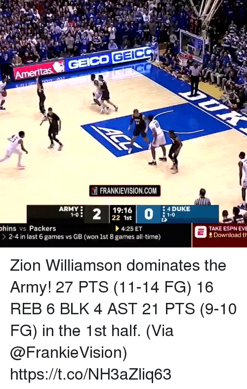 geico: GEICO GEIC  14  FRANKIEVISION.COM  ARMY  1-0  19:16  22 1st  4 DUKE  hins vs Packers  > 2-4 in last 6 games vs GB (won lst 8 games all-time)  4:25 ET  ESPN EVE  Download th  (won lst 8 games al te)TDEuRIONE Zion Williamson dominates the Army!  27 PTS (11-14 FG) 16 REB 6 BLK 4 AST  21 PTS (9-10 FG) in the 1st half.   (Via @FrankieVision)    https://t.co/NH3aZliq63
