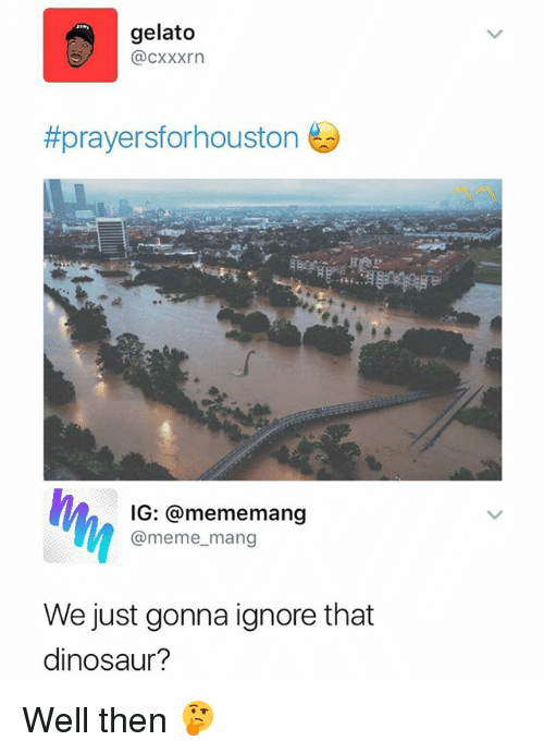 dinosaure: gelato  @cxxxrn  #prayersforhouston  IG: @mememang  @meme_mang  We just gonna ignore that  dinosaur? Well then 🤔