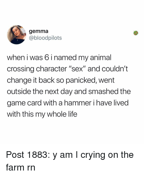 """gemma: gemma  @bloodpilots  when i was 6 i named my animal  crossing character """"sex"""" and couldn't  change it back so panicked, went  outside the next day and smashed the  game card with a hammer i have lived  with this my whole life Post 1883: y am I crying on the farm rn"""