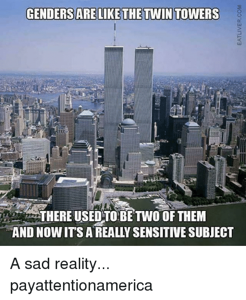 Memes, 🤖, and Twin Towers: GENDERS ARE LIKE THE TWIN TOWERS  THEREUSED TO BE TWO OF THEM  AND NOW ITS A REALLY SENSITIVE SUBJECT A sad reality... payattentionamerica