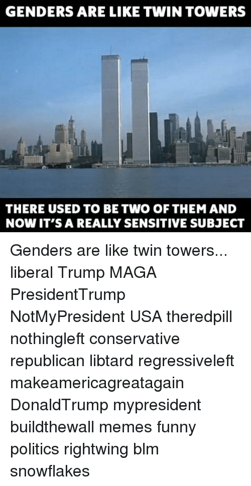Funny, Memes, and Politics: GENDERS ARE LIKE TWIN TOWERS  THERE USED TO BE TWO OF THEM AND  NOW IT'S A REALLY SENSITIVE SUBJECT Genders are like twin towers... liberal Trump MAGA PresidentTrump NotMyPresident USA theredpill nothingleft conservative republican libtard regressiveleft makeamericagreatagain DonaldTrump mypresident buildthewall memes funny politics rightwing blm snowflakes