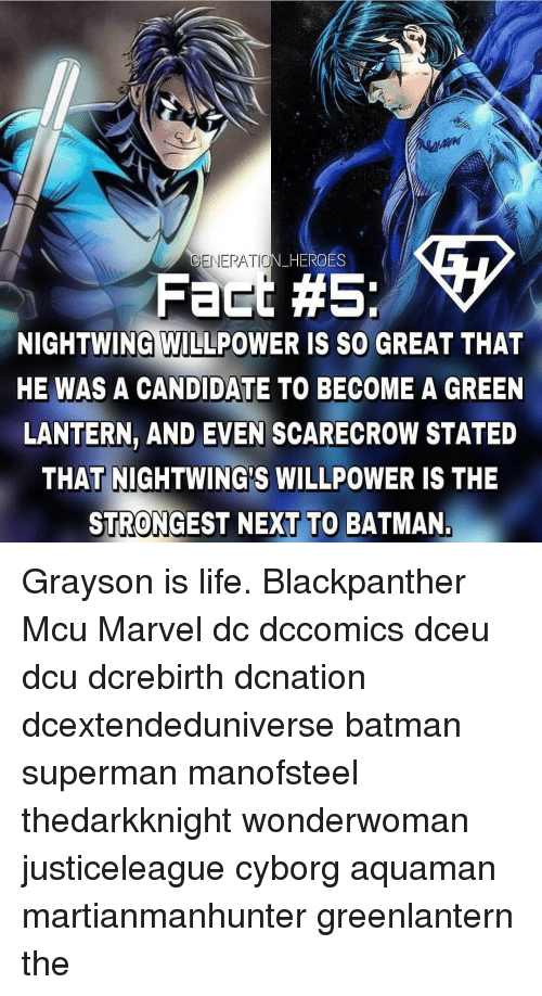 Green Lantern: GENERATIO  N HERO  ES  Fact #5:  NIGHTWING WILLPOWER IS SO GREAT THAT  HE WAS A CANDIDATE TO BECOME A GREEN  LANTERN, AND EVEN SCARECROW STATED  THAT NIGHTWING'S WILLPOWER IS THE  STRONGEST NEXT TO BATMAN Grayson is life. Blackpanther Mcu Marvel dc dccomics dceu dcu dcrebirth dcnation dcextendeduniverse batman superman manofsteel thedarkknight wonderwoman justiceleague cyborg aquaman martianmanhunter greenlantern the