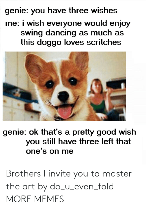swing dancing: genie: you have three wishes  me: i wish everyone would enjoy  swing dancing as much as  this doggo loves scritches  genie: ok that's a pretty good wish  you still have three left that  one's on me Brothers I invite you to master the art by do_u_even_fold MORE MEMES