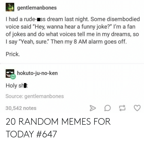 "Jokes And: gentlemanbones  I had a rude-ss dream last night. Some disembodied  voice said ""Hey, wanna hear a funny joke?"" I'm a fan  of jokes and do what voices tell me in my dreams, so  I say ""Yeah, sure"" Then my 8 AM alarm goes off.  Prick.  hokuto-ju-no-ken  Holy shlt  Source: gentlemanbones  30,542 notes 20 RANDOM MEMES FOR TODAY #647"