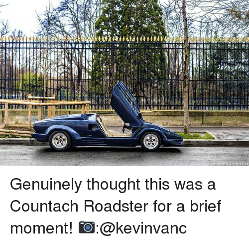 Memes, Thought, and 🤖: Genuinely thought this was a Countach Roadster for a brief moment! 📷:@kevinvanc