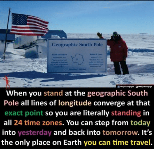 south: Geographic South Pole  Rabert F. Soalt  Resd Amundaen  Fevai  The Falo Yos. e  seama Inom  ther ptd  olevation 9 Ml fet  When you stand at the geographic South  Pole all lines of longitude converge at that  exact point so you are literally standing in  all 24 time zones. You can step from today  into yesterday and back into tomorrow. It's  the only place on Earth you can time travel.