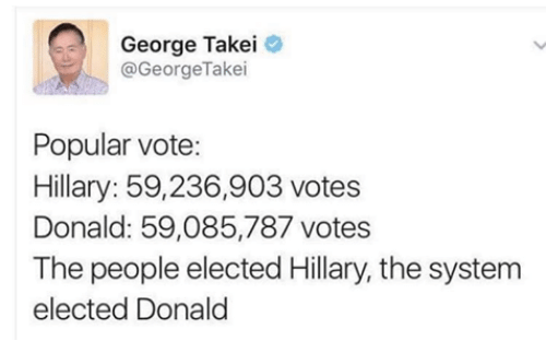 Vote Hillary: George Takei  @George Takei  Popular vote:  Hillary: 59,236,903 votes  Donald: 59,085,787 votes  The people elected Hillary, the system  elected Donald