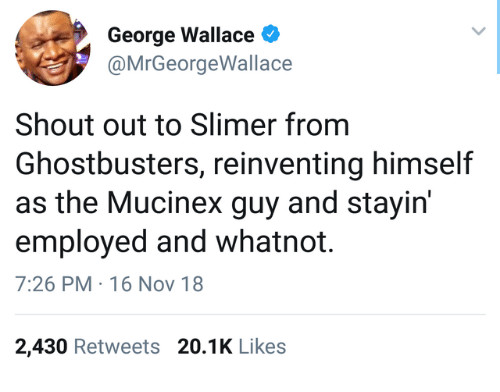 16 Nov: George Wallace  @MrGeorgeWallace  Shout out to Slimer from  Ghostbusters, reinventing himself  as the Mucinex guy and stayirn  employed and whatnot.  7:26 PM 16 Nov 18  2,430 Retweets 20.1K Like:s