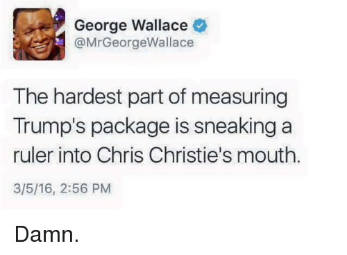 George Wallace: George Wallace  @MrGeorgeWallace  The hardest part of measuring  Trump's package is sneaking a  ruler into Chris Christie's mouth  3/5/16, 2:56 PM <p>Damn.</p>