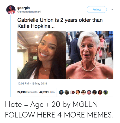 Gabrielle Union: georgia  @lemonadenormani  Follow  Gabrielle Union is 2 years older than  Katie Hopkins...  10:09 PM-19 May 2018  22,243 Retweets 42,732 Likes Hate = Age + 20 by MGLLN FOLLOW HERE 4 MORE MEMES.