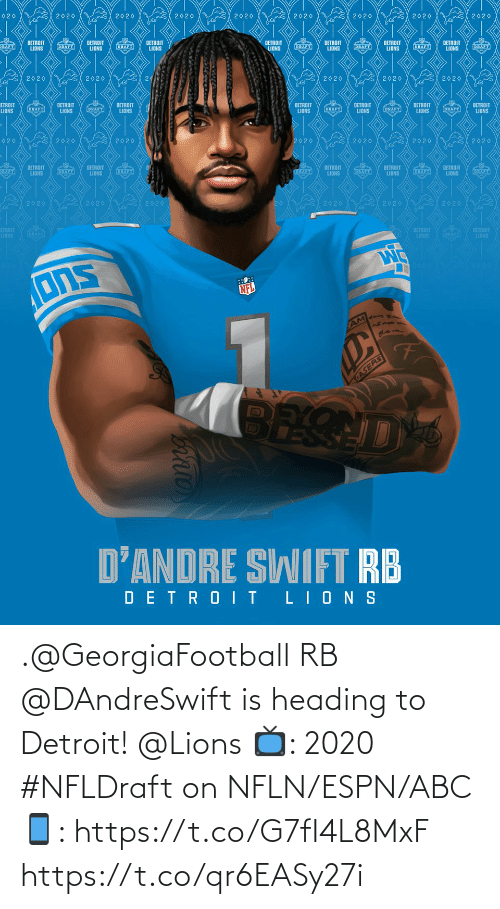 ABC: .@GeorgiaFootball RB @DAndreSwift is heading to Detroit! @Lions   📺: 2020 #NFLDraft on NFLN/ESPN/ABC 📱: https://t.co/G7fI4L8MxF https://t.co/qr6EASy27i