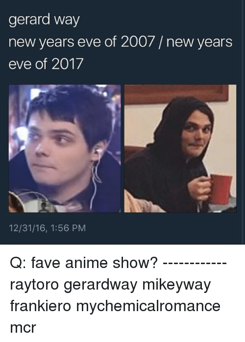 Gerard Way New Years Eve of 2007 New Years Eve of 2017 ...
