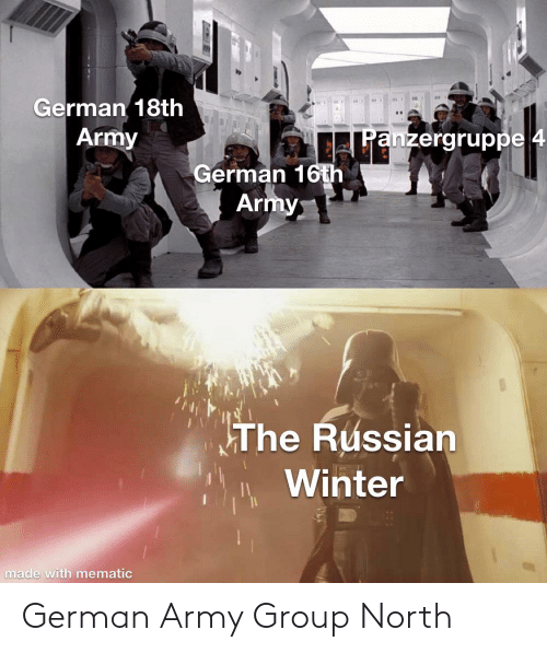 german army: German 18th  Army  Panzergruppe 4  German 16th  Army  The Russian  Winter  made with mematic German Army Group North