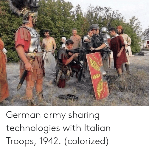 german army: German army sharing technologies with Italian Troops, 1942. (colorized)