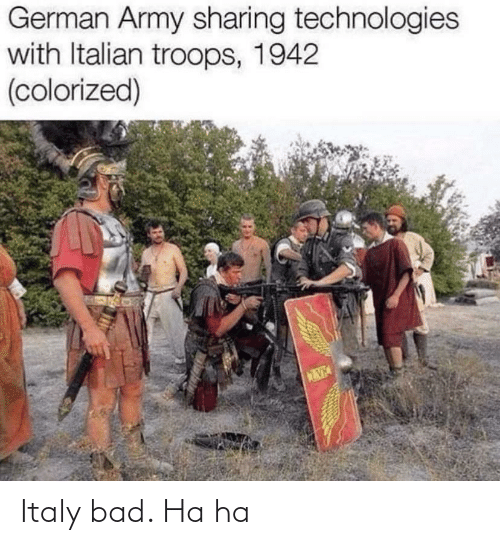 german army: German Army sharing technologies  with Italian troops, 1942  (colorized) Italy bad. Ha ha