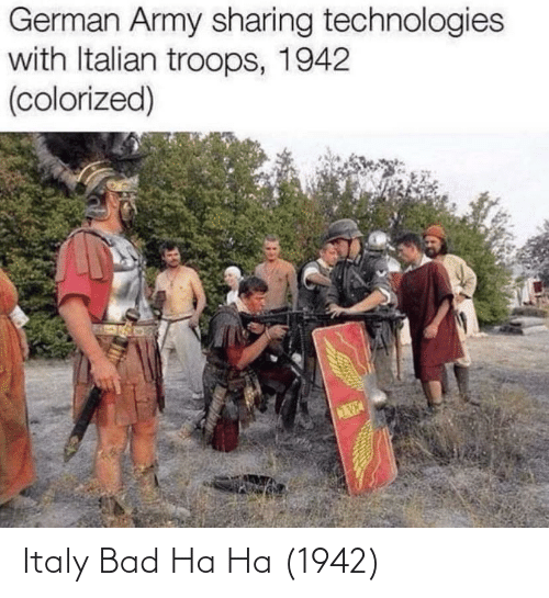 german army: German Army sharing technologies  with Italian troops, 1942  (colorized) Italy Bad Ha Ha (1942)