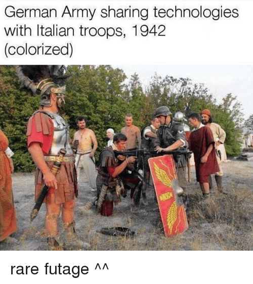 german army: German Army sharing technologies  with Italian troops, 1942  (colorized) rare futage ^^