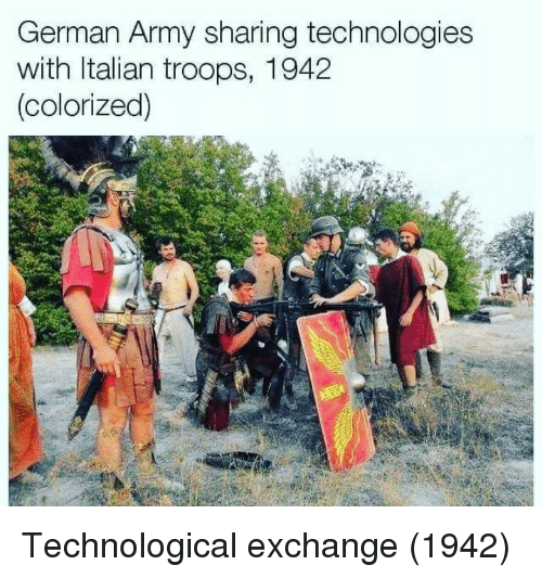 german army: German Army sharing technologies  with Italian troops, 1942  colorized) Technological exchange (1942)