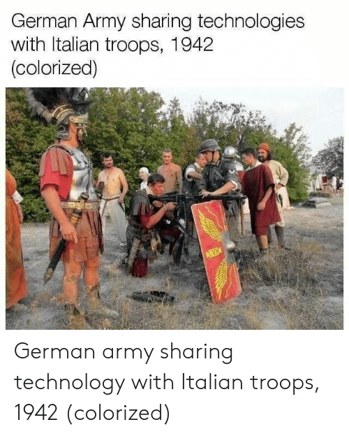 german army: German Army sharing technologies  with ltalian troops, 1942  (colorized) German army sharing technology with Italian troops, 1942 (colorized)