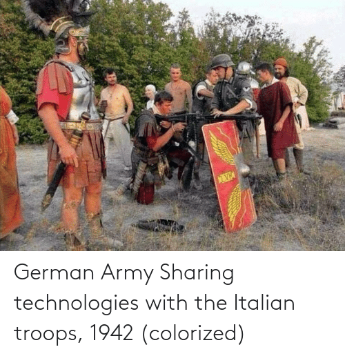 Army, German, and Italian: German Army Sharing technologies with the Italian troops, 1942 (colorized)