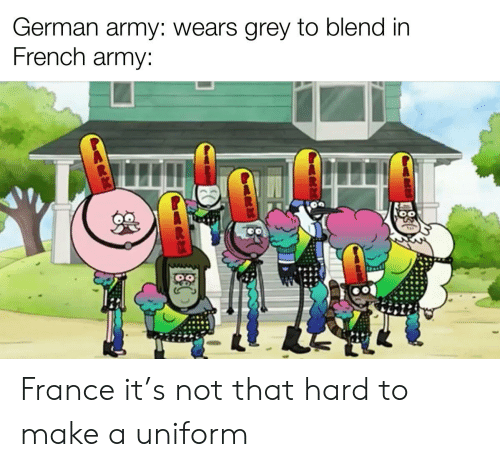 german army: German army: wears grey to blend in  French army: France it's not that hard to make a uniform