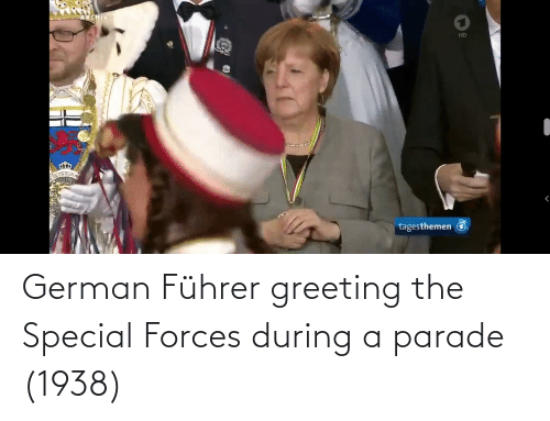 special forces: German Führer greeting the Special Forces during a parade (1938)