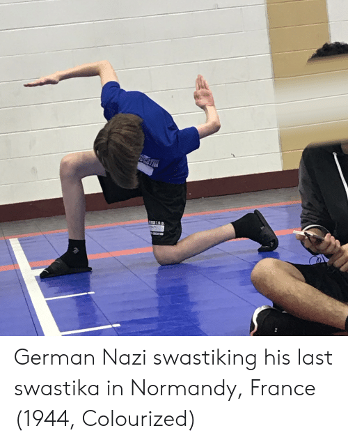Colourized: German Nazi swastiking his last swastika in Normandy, France (1944, Colourized)