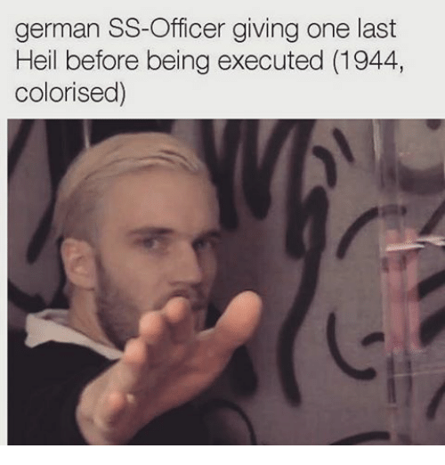 Germanic: german SS-Officer giving one last  Heil before being executed (1944,  color ised)