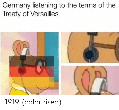 ema: Germany listening to the terms of the  Treaty of Versailles  ema 1919 (colourised).
