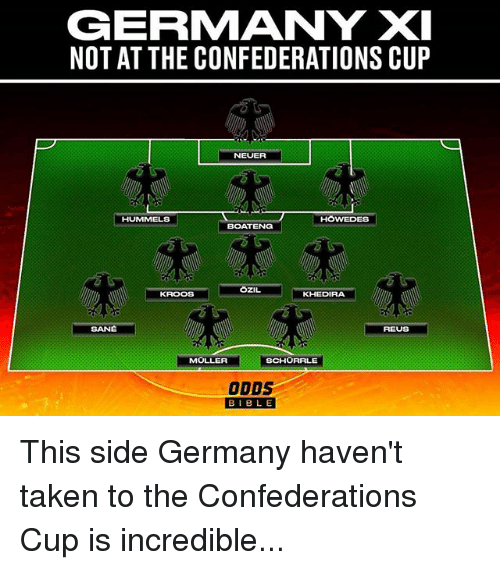 Bibled: GERMANY XI  NOT AT THE CONFEDERATIONS CUP  NEUER  HUMMELS  HOWEDES  BOATENG  OZIL  KROOS  KHEDIRA  REUS  MOLLER  SCHORRLE  ODDS  BIBLE  BIBL E This side Germany haven't taken to the Confederations Cup is incredible...