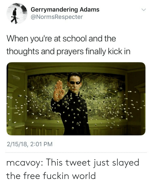 slayed: Gerrymandering Adams  @NormsRespecter  When you're at school and the  thoughts and prayers finally kick in  2/15/18, 2:01 PM mcavoy:  This tweet just slayed the free fuckin world