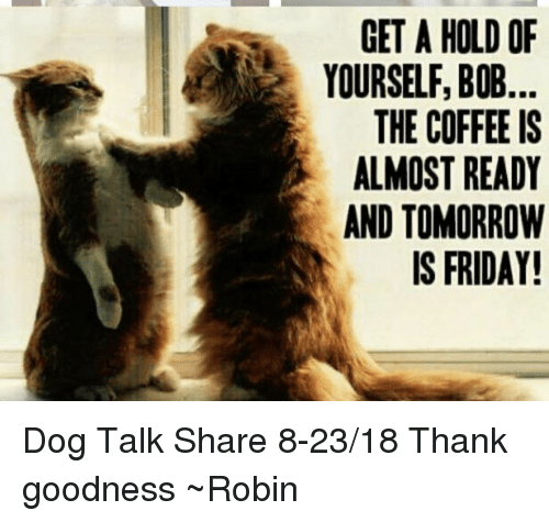 Tomorrow Is Friday: GET A HOLD OF  YOURSELF, BOB  THE COFFEE IS  ALMOST READY  AND TOMORROW  IS FRIDAY! Dog Talk Share 8-23/18 Thank goodness ~Robin