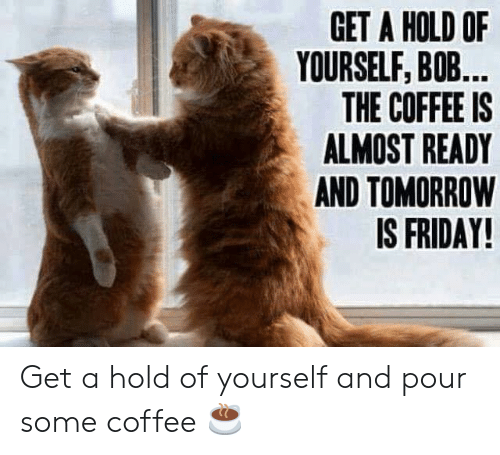 Tomorrow Is Friday: GET A HOLD OF  YOURSELF, BOB...  THE COFFEE IS  ALMOST READY  AND TOMORROW  IS FRIDAY! Get a hold of yourself and pour some coffee ☕️