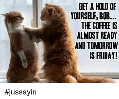 Tomorrow Is Friday: GET A HOLD OF  YOURSELF, BOB  THE COFFEE IS  ALMOST READY  AND TOMORROW  IS FRIDAY! #jussayin