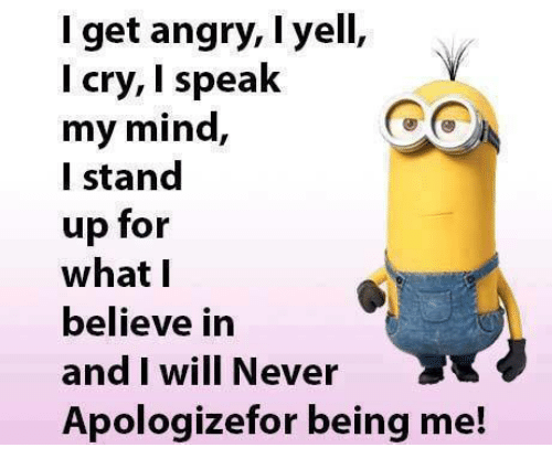 Crying, Memes, and Ups: get angry, I yell,  I cry, I speak  my mind,  I stand  up for  what I  believe in  and I will Never  Apologize for being me!