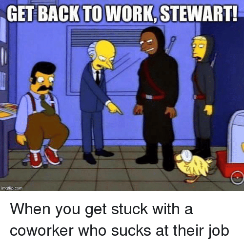 Memes, Jobs, and Coworkers: GET BACK TO WORK.  STEWART!  inngflip.com When you get stuck with a coworker who sucks at their job