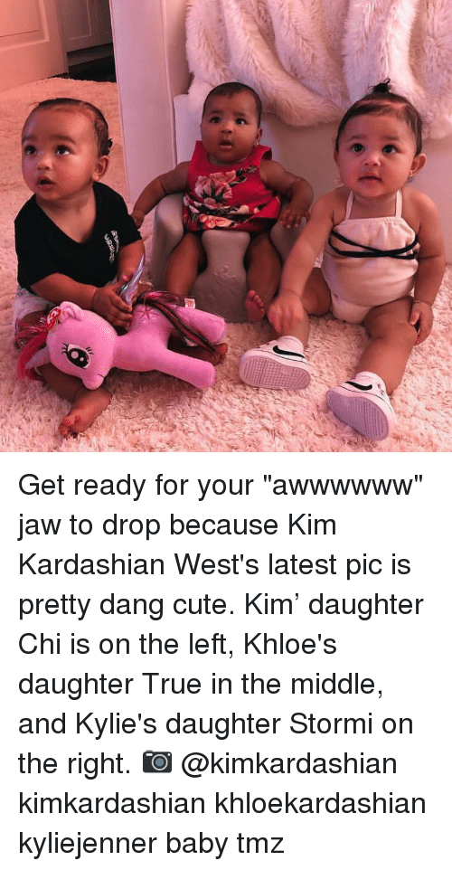 "wests: Get ready for your ""awwwwww"" jaw to drop because Kim Kardashian West's latest pic is pretty dang cute. Kim' daughter Chi is on the left, Khloe's daughter True in the middle, and Kylie's daughter Stormi on the right. 📷 @kimkardashian kimkardashian khloekardashian kyliejenner baby tmz"