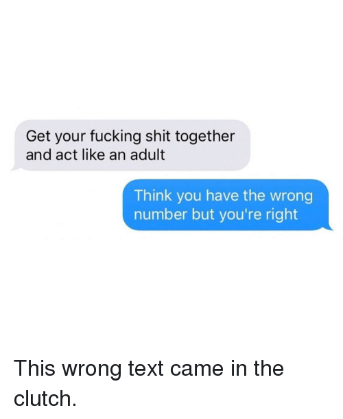 Fucking, Funny, and Shit: Get your fucking shit together  and act like an adult  Think you have the wrong  number but you're right This wrong text came in the clutch.