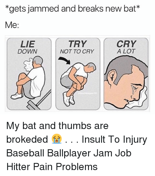 Insulter: *gets jammed and breaks new bat*  gets jammed and breaks new bat  Me:  LIE  DOWN  TRY  NOT TO CRY  CRY  A LOT  01 My bat and thumbs are brokeded 😭 . . . Insult To Injury Baseball Ballplayer Jam Job Hitter Pain Problems