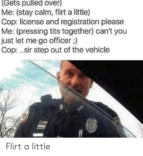 License: (Gets pulled over)  Me: (stay calm, flirt a little)  Cop: license and registration please  Me: (pressing tits together) can't you  just let me go officer;)  Cop: .sir step out of the vehicle Flirt a little