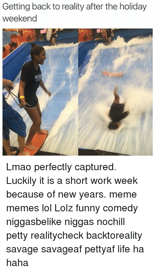 Short Work Week: Getting back to reality after the holiday  weekend Lmao perfectly captured. Luckily it is a short work week because of new years. meme memes lol Lolz funny comedy niggasbelike niggas nochill petty realitycheck backtoreality savage savageaf pettyaf life ha haha