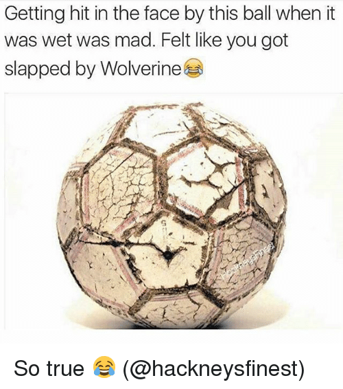 Memes, True, and Wolverine: Getting hit in the face by this ball when it  was wet was mad. Felt like you got  slapped by Wolverine So true 😂 (@hackneysfinest)