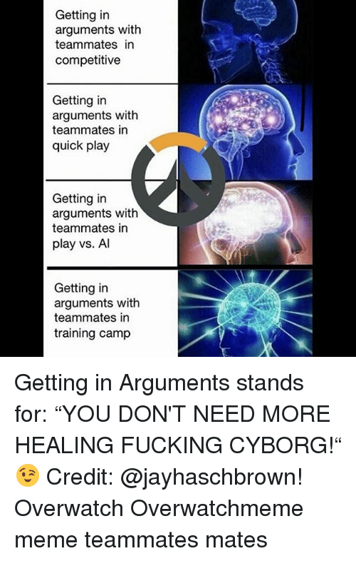 """Memes, 🤖, and Overwatch: Getting in  arguments with  teammates in  competitive  Getting in  arguments with  teammates in  quick play  Getting in  arguments with  teammates in  play vs. Al  Getting in  arguments with  teammates in  training camp Getting in Arguments stands for: """"YOU DON'T NEED MORE HEALING FUCKING CYBORG!"""" 😉 Credit: @jayhaschbrown! Overwatch Overwatchmeme meme teammates mates"""