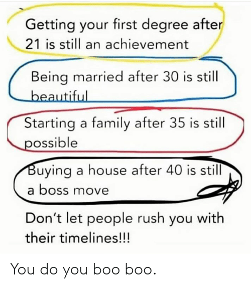 boo boo: Getting your first degree after  21 is sill an achievement  Being married after 30 is still  Starting a family after 35 is still  ossible  uying a house after 40 is still  a boss move  Don't let people rush you with  their timelines!!! You do you boo boo.