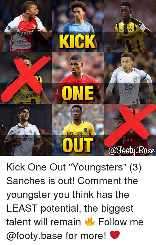"""Ased: GEV  irat  KICK  ONE  OUT  @Host ase Kick One Out """"Youngsters"""" (3) Sanches is out! Comment the youngster you think has the LEAST potential, the biggest talent will remain 🔥 Follow me @footy.base for more! ❤️"""