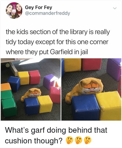 Jail, Memes, and Kids: Gey For Fey  @commanderfreddy  the kids section of the library is really  tidy today except for this one corner  where they put Garfield in jail What's garf doing behind that cushion though? 🤔🤔🤔
