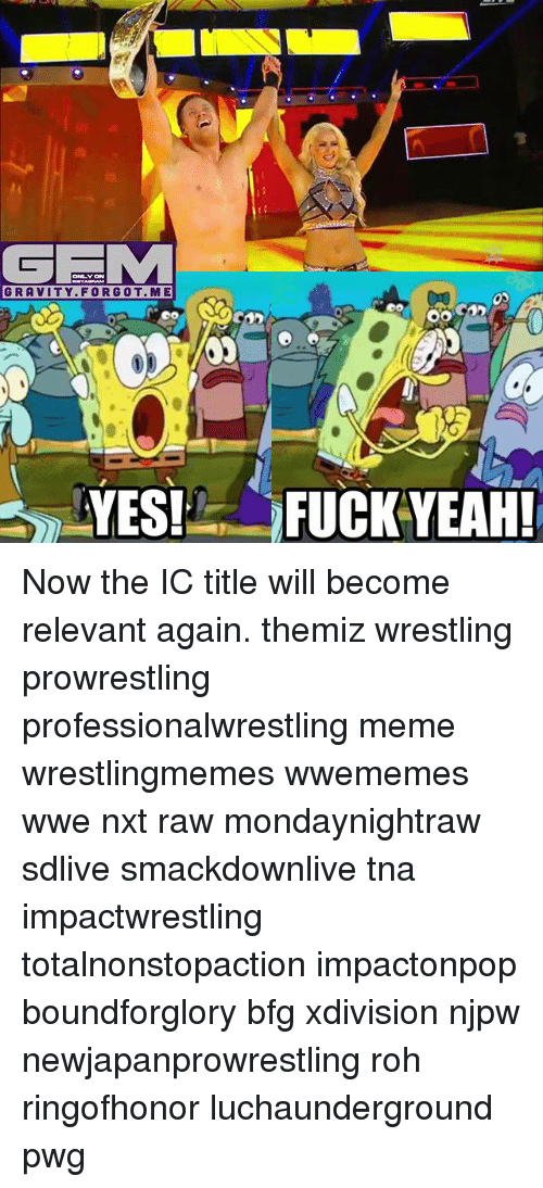 tna: GFIM  GRAVITY FOR GOT ME  YES!  OO  FUCK YEAH! Now the IC title will become relevant again. themiz wrestling prowrestling professionalwrestling meme wrestlingmemes wwememes wwe nxt raw mondaynightraw sdlive smackdownlive tna impactwrestling totalnonstopaction impactonpop boundforglory bfg xdivision njpw newjapanprowrestling roh ringofhonor luchaunderground pwg