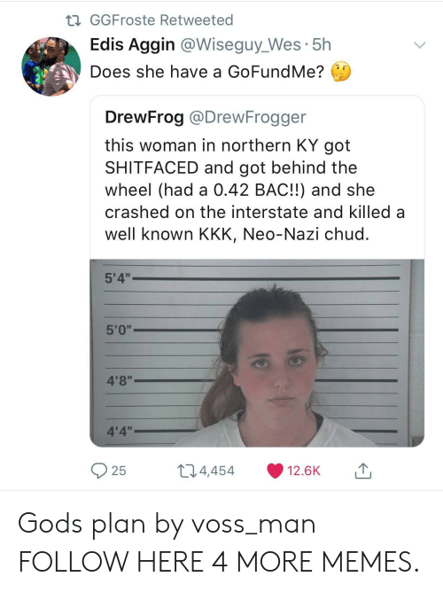 "Neo Nazi: GGFroste Retweeted  Edis Aggin @Wiseguy_Wes 5h  Does she have a GoFundMe?  DrewFrog @DrewFrogger  this woman in northern KY got  SHITFACED and got behind the  wheel (had a 0.42 BAC!!) and she  crashed on the interstate and killed a  well known KKK, Neo-Nazi chud  5'4""  4'8""  4'4""  25  t 4,  454  12.6K Gods plan by voss_man FOLLOW HERE 4 MORE MEMES."
